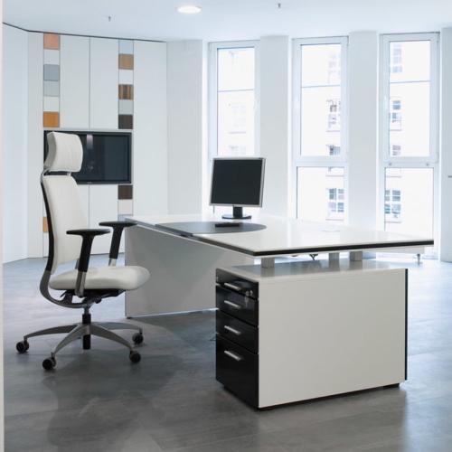 Bureau wit met zwart ladeblok
