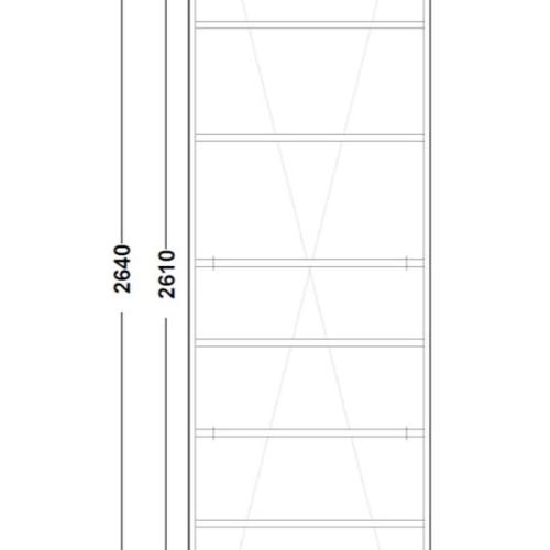 Tekening vitrinekast binnenkant