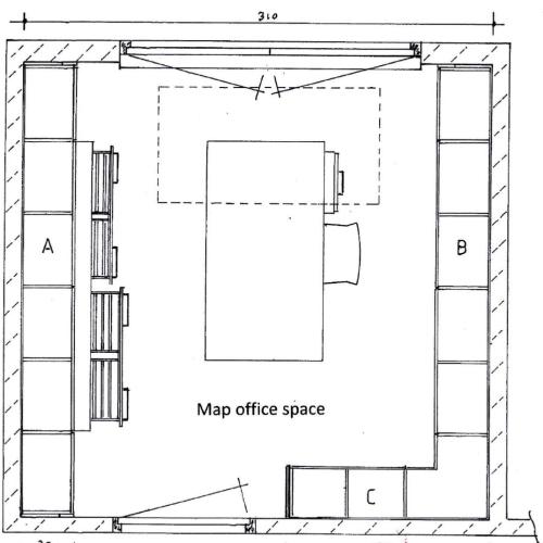 Tekening werkkamer plattegrond