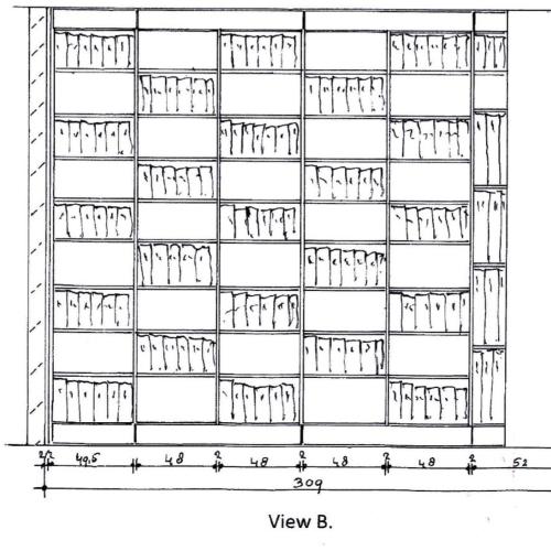 Tekening boekenkast verstelbare planken