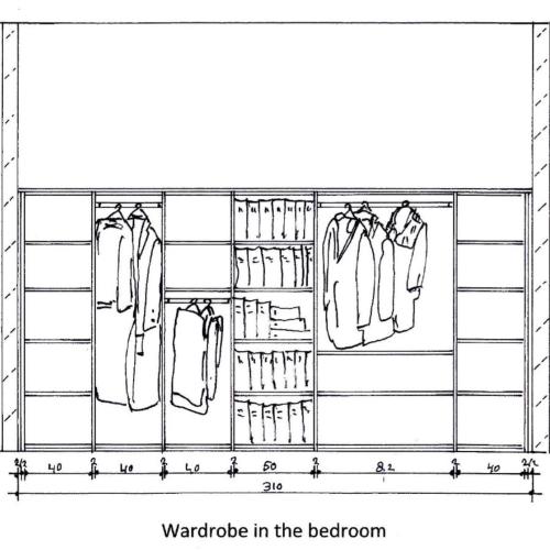 Tekening kledingkast binnenkant