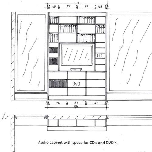 Tekening boekenkast tv-meubel
