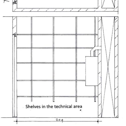 Tekening planken technische ruimte